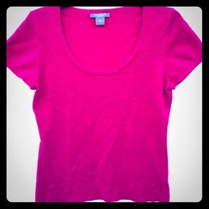 Ann Taylor pink cashmere short sleeve sweater